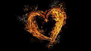Фотографии Огонь Сердце Черный фон