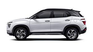 Обои Хендай Белые Металлик Сбоку Кроссовер Белый фон Creta, MX-spec, (SU2), 2020 Автомобили