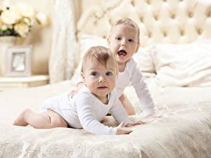 Фотографии Младенцы Два Смотрит Кровать
