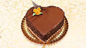 Фотографии День святого Валентина Сладости Торты Шоколад Розы Сердце Дизайн Еда
