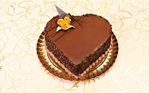 Фотографии День святого Валентина Сладости Торты Шоколад Розы Серце Дизайн Еда