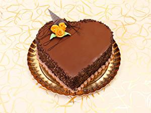 Фотографии День святого Валентина Сладкая еда Торты Шоколад Роза Серце Дизайн Еда