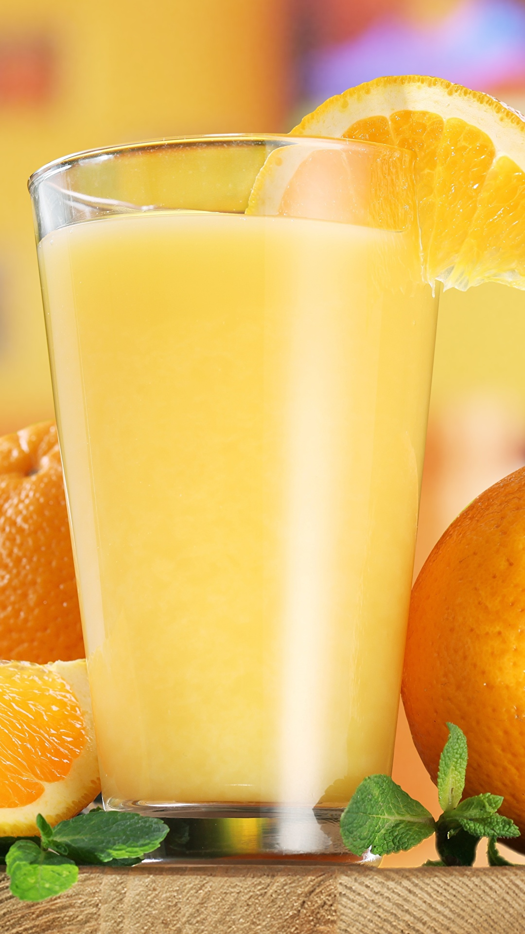 Обои для рабочего стола Сок Апельсин Стакан Еда 1080x1920 для мобильного телефона стакана стакане Пища Продукты питания