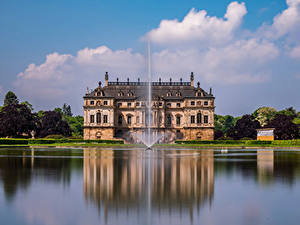 Фотография Германия Дрезден Парки Пруд Фонтаны Дворец Great Garden Города