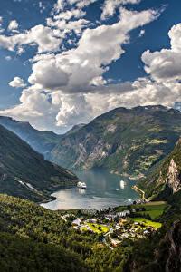 Фото Норвегия Горы Небо Пейзаж Залив Облачно Geiranger Fjord