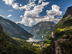 Фото Норвегия Горы Небо Пейзаж Залив Облачно Geiranger Fjord Природа