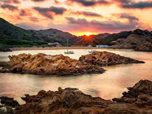 Фото Испания Берег Рассвет и закат Остров Заливы Ciutadella de Menorca Balearic Islands Природа