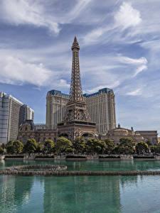 Фотография Штаты Здания Пруд Небо Лас-Вегас Эйфелева башня Города