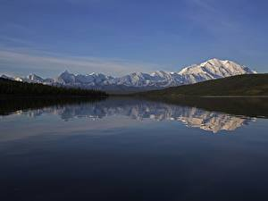 Картинка Аляска США Горы Леса Речка Снег Отражение Denali National Park , mount Denali Природа