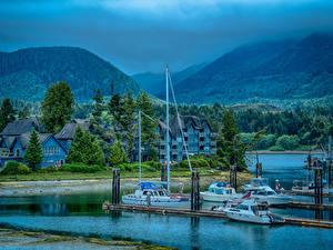 Фотографии Канада Здания Горы Пирсы Катера Ucluelet British Columbia Города