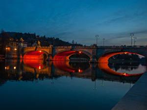 Фотография Италия Реки Мосты Ночью Turin Города