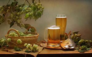 Фото Натюрморт Пиво Рыба Хмель Кружки Корзины Стакан Еда