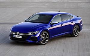 Картинки Volkswagen Синих Металлик Arteon, R-Line, 2020 Автомобили
