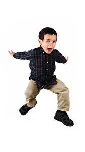 Картинка Белом фоне Мальчик Прыгает Рука Счастливый ребёнок