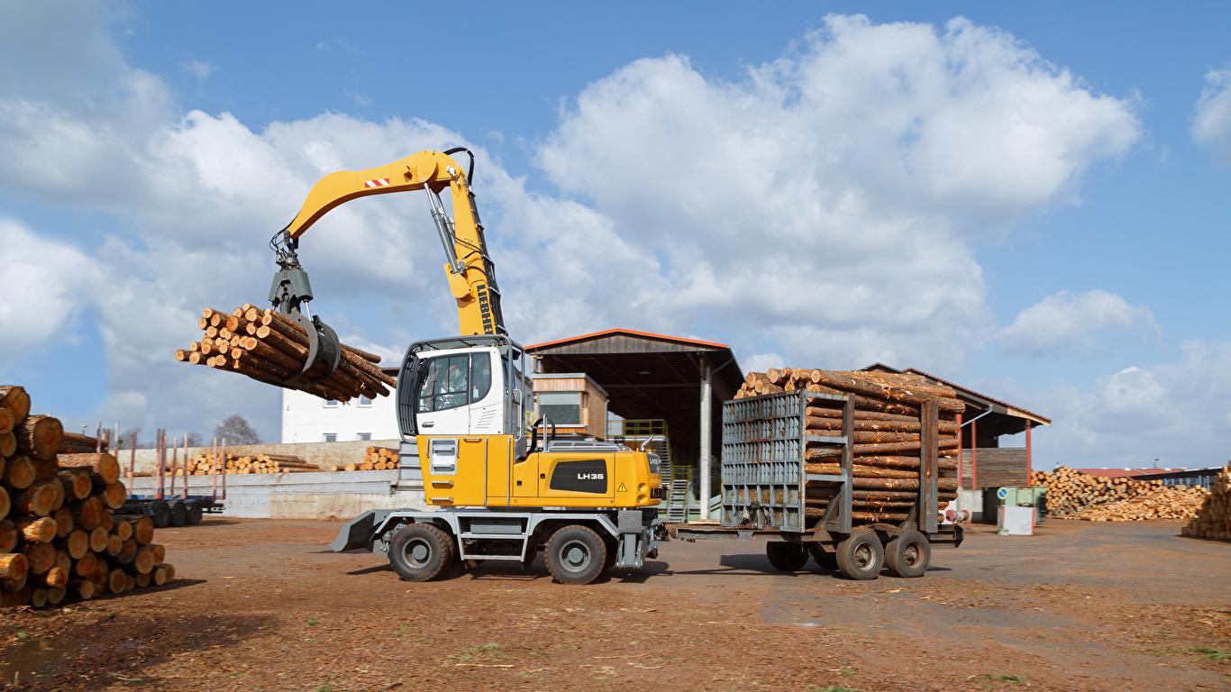 Обои для рабочего стола Форвардер 2015-17 Liebherr LH 35 M Timber Litronic Бревна 1366x768 бревно