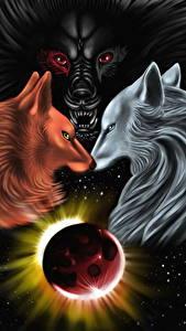 Картинки Волшебные животные Планеты Три Ragnarok, Skoll, Fenris, Hati Фэнтези