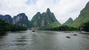 Картинка Реки Гора Речные суда Китай Guilin and Lijiang River national park