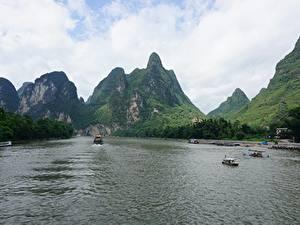 Картинка Реки Гора Речные суда Китай Guilin and Lijiang River national park Природа
