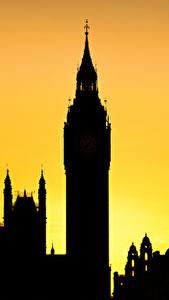 Обои Англия Силуэта Биг-Бен Башня Лондон Города