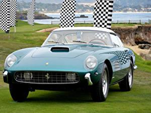 Фотография Феррари Винтаж Зеленый Металлик Спереди 1957 4.9 Superfas Pininfarina
