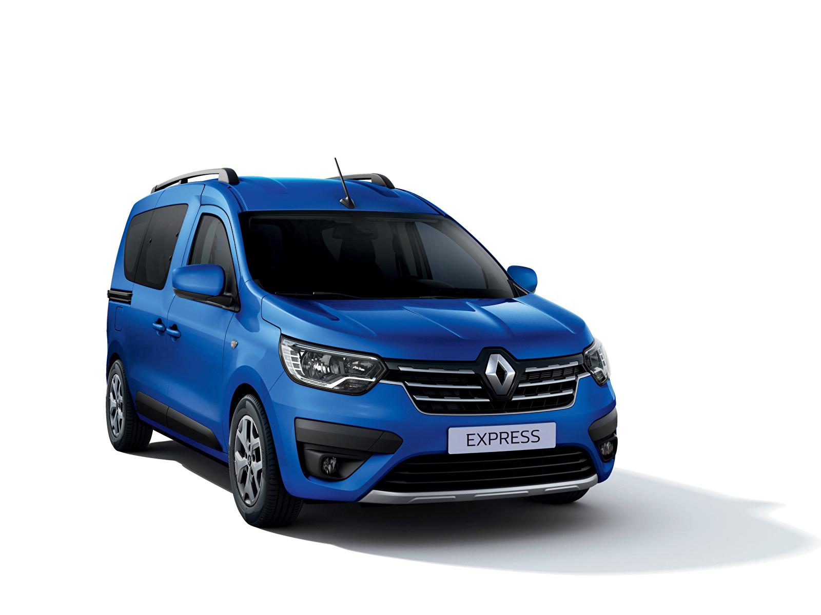 Фотографии Renault Express, 2021 Минивэн Синий машина Металлик белым фоном 1600x1200 Рено синяя синие синих авто машины Автомобили автомобиль Белый фон белом фоне