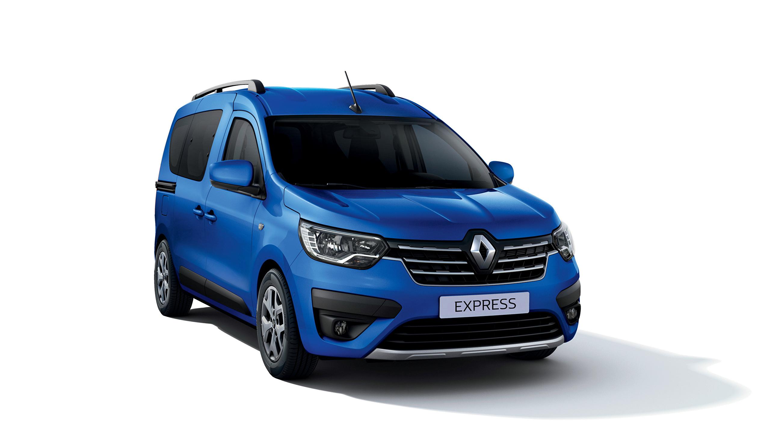 Фотографии Renault Express, 2021 Минивэн Синий машина Металлик белым фоном 2560x1440 Рено синяя синие синих авто машины Автомобили автомобиль Белый фон белом фоне
