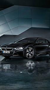 Картинки BMW Черный Отражение 2017 i8 Frozen Black Edition Машины
