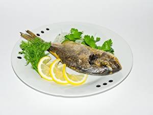 Картинки Рыба Лимоны Тарелка Еда