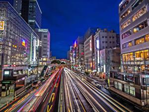 Фотографии Япония Здания Дороги Вечер Улица Sendai Города
