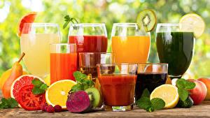 Обои Сок Овощи Фрукты Цитрусовые Стакане Бокал Продукты питания