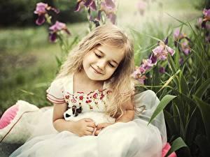 Фотография Девочка Улыбается Платья Блондинок ребёнок