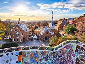 Фотография Испания Парк Дома Барселона Дизайн Park Guell Города