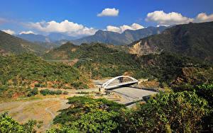 Фотография Тайвань Горы Речка Мосты Природа
