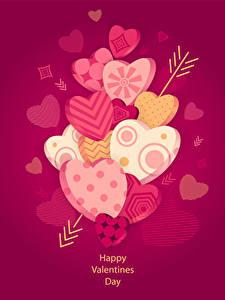 Фото День всех влюблённых Цветной фон Сердечко Стрела Английский 3D Графика