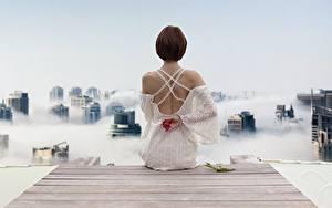 Обои Пирсы Шатенки Вид сзади Платья Сидящие Спины девушка