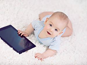 Фотографии Планшетный компьютер Младенцы Взгляд