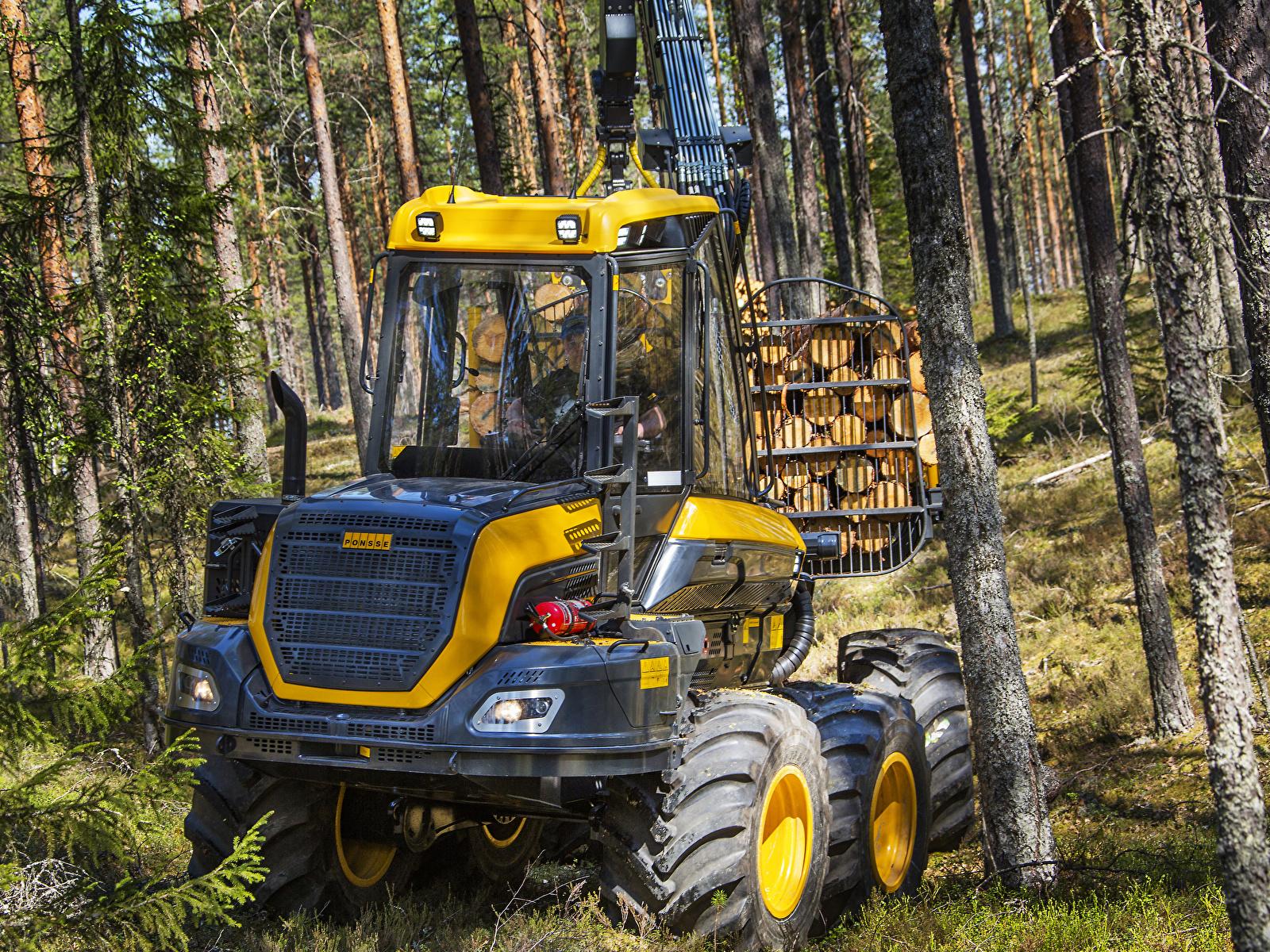 Картинка Форвардер 2014-17 Ponsse Wisent 8w Леса Деревья 1600x1200 лес дерево дерева деревьев