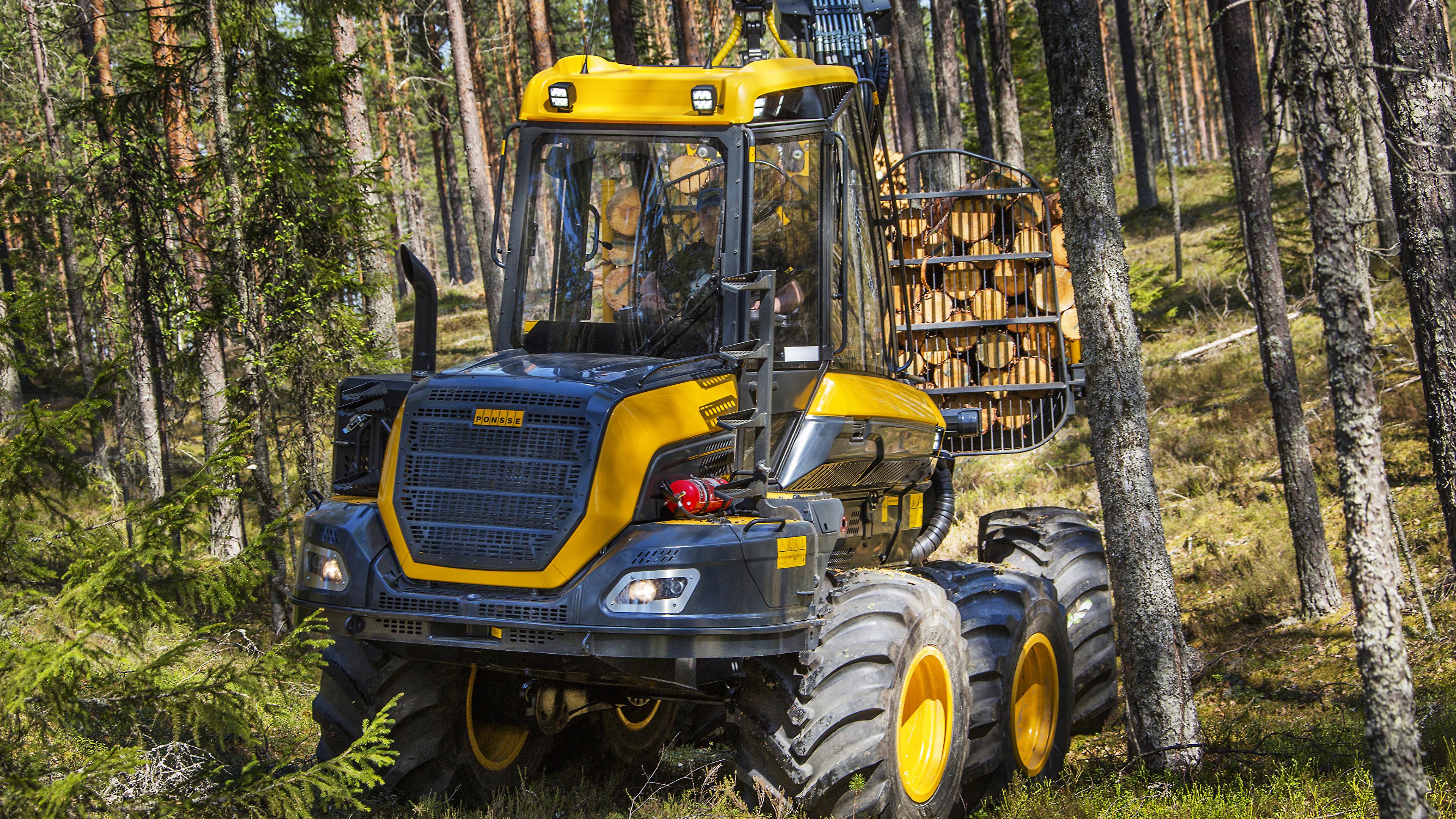 Картинка Форвардер 2014-17 Ponsse Wisent 8w Леса Деревья 3840x2160 лес дерево дерева деревьев