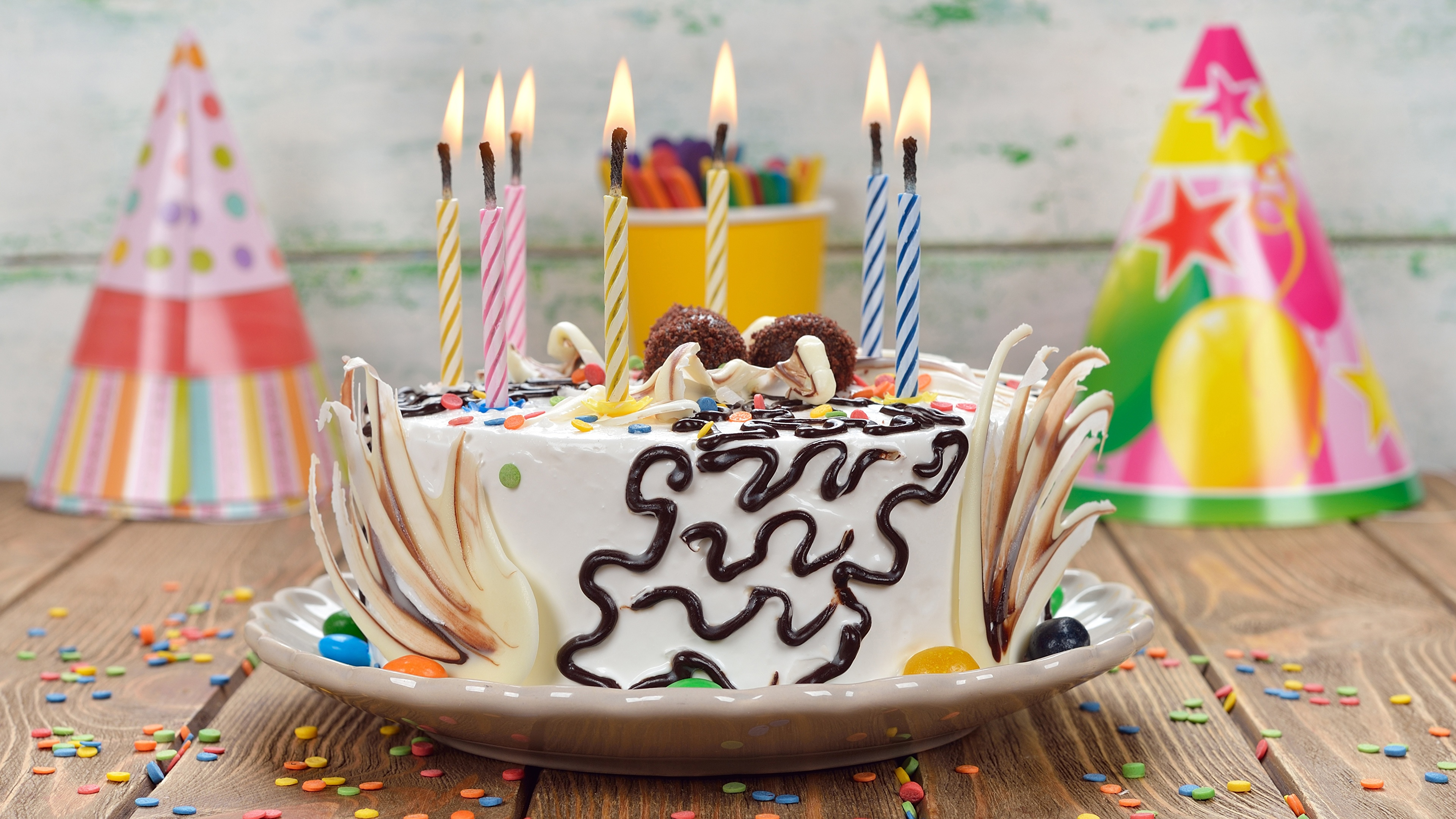 Обои для рабочего стола День рождения Торты Пища Свечи 3840x2160 Еда Продукты питания