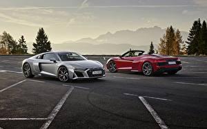 Фотография Ауди 2 Паркинг Родстер Красная Серая Металлик Купе R8, Spyder, V10, 2020, RWD авто