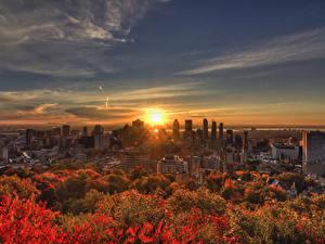 Фото Канада Здания Рассветы и закаты Осень Небо Мегаполис Montreal Города