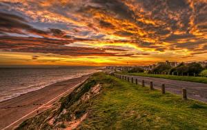 Фотография Англия Пейзаж Рассвет и закат Побережье Дороги Небо Облака Rother District Природа