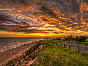 Фотография Англия Пейзаж Рассветы и закаты Побережье Дороги Небо Облака Rother District Природа