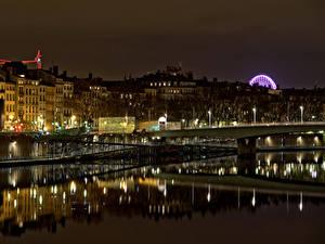 Фото Франция Здания Речка Мосты В ночи Lyon Города