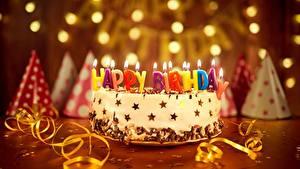 Картинка Праздники Торты Свечи День рождения Английский Еда