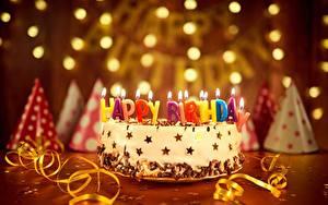 Картинка Праздники Торты Свечи День рождения Английская