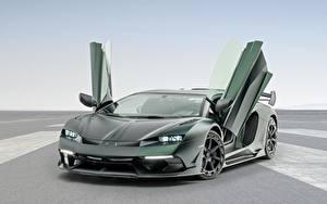 Фотография Ламборгини Зеленая Углепластик Открытая дверь Aventador, Mansory, 2020, SVJ, Cabrera