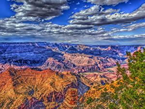 Картинки США Гранд-Каньон парк Парки Горы Небо Облака HDR Природа