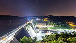 Обои США Водопады Небо Звезды Ночь Плотина Лучи света Norris Dam State Park Tennessee Природа