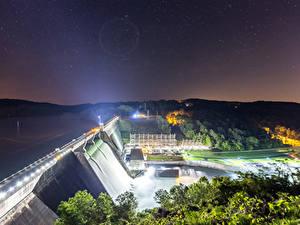 Обои США Водопады Небо Звезды Ночь Плотине Лучи света Norris Dam State Park Tennessee Природа